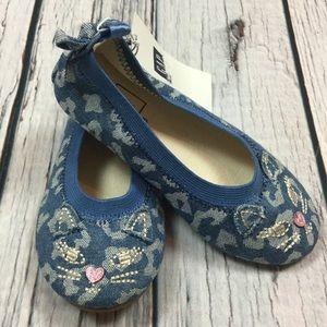 Gap Girls 8 Toddler Kitten Denim Flat Shoes